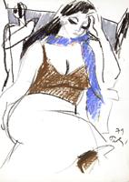 Quadro di  Bruno Paoli - Donna seduta pastel papier